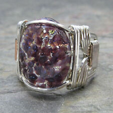 Purple Foil Opal Glass Cabochon Sterling Silver Wire Wrapped Ring ANY Size