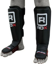 RDX Leather Pro Gel Shin Instep Pads MMA Leg Foot Guards Muay Thai Kick Boxing B