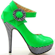 New Ladies Green Flower Ankle Strap Stripe Platform Shoes Au Sz 4/5/6/7/8/9/9.5