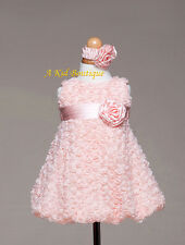 New Baby Girl Rosette Pastel Peach Pink Dress & Headband Pageant Birthday Easter