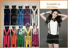 10 Colors Sexy Mens Womens Clip-on Suspenders Elastic Y-Shape Adjustable Braces