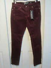 HOT TOPIC SOCIAL COLLISION BURGUNDY CORDUROY RUDE FIT SKINNY JEAN DIFFERENT SIZE