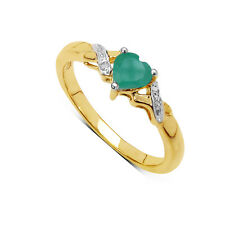GOLD PLATED SILVER HEART SHAPED EMERALD & DIAMOND ENGAGEMENT RING  SIZE LMNPQRS