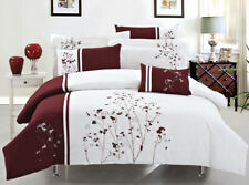 New Stunning BURGUNDY  flowers Luxury Duvet Cover 7pcs Set QUEEN AND KING
