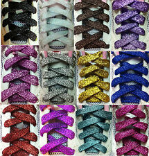 FLAT GLITTER COLOURED SHOE LACES SHOELACES BOOTLACES (Wide1.2cm, Long120cm)