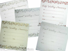 10 x SILVER, PEARL, RUBY, GOLDEN or DIAMOND WEDDING ANNIVERSARY INVITES - ROSES