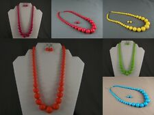 """Big graduated round plastic beads beaded necklace earrings set 17"""" - 18.5"""" long"""