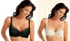 IVORY & BLACK PLAYTEX MARY PORTAS FLORAL LACE UNDERWIRE 3/4 CUP BRA SELECT SIZE