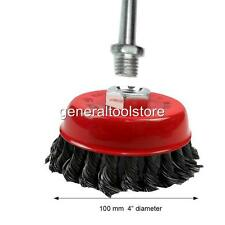 DRILL OR GRINDER OPTION AVAILABLE. M14 THREAD TWISTED KNOTTED WIRE CUP BRUSH