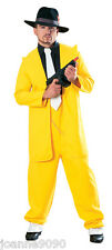 NEW ADULT MENS YELLOW GANGSTER ZOOT SUIT THE MASK JIM CARREY FANCY DRESS COSTUME