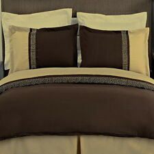 MODERN Greek Key Chocolate Brown Gold Embroidered DUVET COVER BEDDING SET