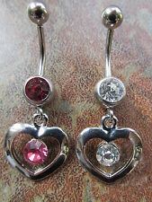 316L Surgical Steel Crystal Heart Dangle Navel Belly Button Ring Bar