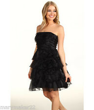 NWT-$178 JESSICA SIMPSON DRESS BLACK RUFFLED TIERED STRAPLESS GOWN 0/6/8