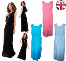 Womens Chiffon BOHO Pleated Dress Maxi Long Cocktail Dress PLUS Sizes--UK Seller