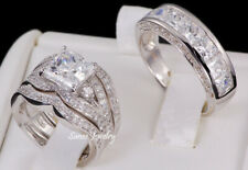 His & Her AAA Princess Cut 4pcs Engagement Wedding Ring Set  925 Sterling Silver