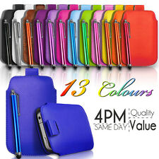 LEATHER PULL TAB SKIN CASE COVER POUCH AND STYLUS PEN FITS VARIOUS HTC MOBILES