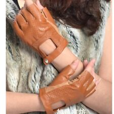 Wildbirds Women's Cut Out Hole Fingerless Driving Fashion Leather Gloves