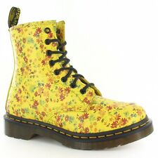 Dr Martens 1460 Womens Leather Floral Boots Yellow