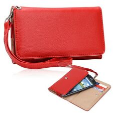 Red WristLet Phone Clutch Wallet Case Cover PU Leather Protective Guard Pouch