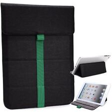 Mini Kroo Leather Tablet Sleeve Pouch Case Cover Guard with Built in Stand Black