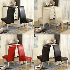 Faux Leather Dining Chairs Roll Top Scroll High Back Wood Legs Kitchen Furniture