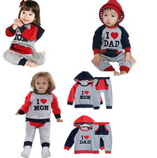 Baby Boys Girls Cotton Hoodies Tracksuit Sets  Romper Jumper I lOVE MOM and DAD
