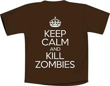 Keep Calm And Kill Zombies T Shirt Brown