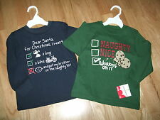 Qty 2 NWT 3T  Boy Jumping Beans Naughty Nice Brother Holiday Christmas T Shirts