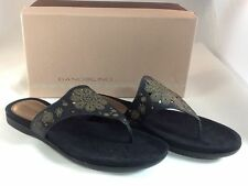 Bandolino BD Quit it Womens Size 9 & 9.5 Black Leather Flip Flops Sandals Shoes