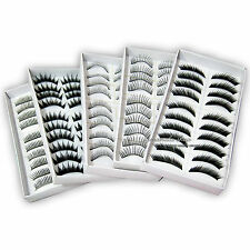 10 Pairs Makeup Long False Eye Lashes Extension Eyelash Black Wedding Salon