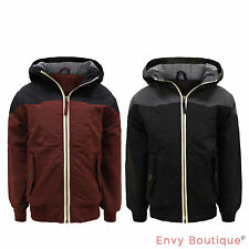 BOYS KIDS BACK TO SCHOOL RIBBED HARRINTON HOODED ZIPPED JACKET WINTER COAT 7-13