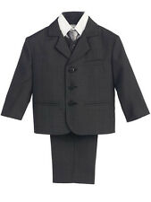 New Boys Dark Gray Suit Vest Tie Outfit 5pc Set Christmas Easter Holiday 6M-4T