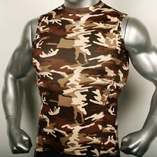 Mens Compression Body Armour Sleeveless Sports shirts Military Base Layer Top