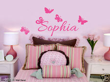 PERSONALISED NAME & BUTTERFLIES Kids Removable Wall Decal for kids