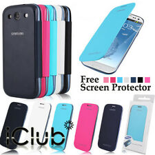LEATHER FLIP BATTERY BACK CASE COVER FOR SAMSUNG GALAXY S3 III I9300 SCREEN FILM