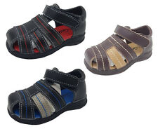 Boys Shoes Grosby Lee Black Navy Brn Leather Upper  Sandals Size 4-12 New