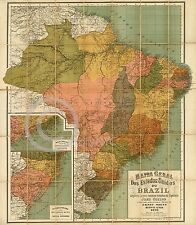 "1891 LARGE COLORFUL WALL MAP BRAZIL MAPA DO BRASIL Historical Vintage 36"" by 54"""