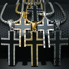 High-Q Sideways Cross Onyx Pendant Chain Necklace Mens Jewelry Gold Silver Black