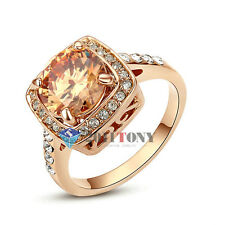 Engagement Gemstone Wedding Ring 18K Rose Gold Plated size K N Q S