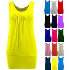 Ladies Sleeveless Plain Casual Stretch Pleated Gathered Long Vest Women's Top