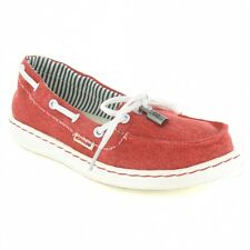 Hey Dude Moka Womens Canvas Slip-On Deck Shoe - Red