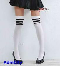 Admcity Opaque White Thigh Highs with 3 Black Stripes Over Knee Stockings.