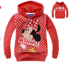 New Minnie Mouse Toddlers Kids Girls Long Sleeve Front Zipper Hoodie 2-8 Years
