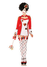 Women's Sexy Royal Queen of Hearts Card Guard Adult Halloween Costume Brand New