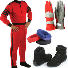 SFI-1 Auto Racing Kit w/ Suit Shoes Gloves & Neck Brace! SFI Rated Package Deal