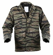 Mens Tactical Field Jacket Rothco M-65 Tiger Stripe Camouflage Camo Coat S - 3XL