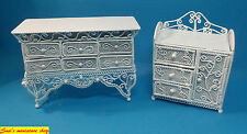 dolls house miniature 1:12 scale selection of  2 white wire furniture items