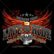 Bike Fitted Shirt American Pride Live To Ride Eagle Wing Chopper Engine Route 66