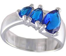 Pear Sapphire Blue Ring Size 5 6 7 8 9 10 Affordable Cubic Zirconia Jewelry