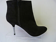 NEW LADIES BHS PROFILE BLACK FAUX SUEDE STILETTO METAL HEEL ZIP ANKLE BOOTS WOW!